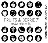 set of vector round icons with... | Shutterstock .eps vector #202091164