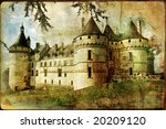 medieval castle - old book of the fairy tales - stock photo