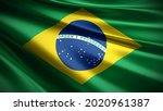 3d illustration flag of Brazil. close up waving flag of Brazil. flag symbol of Brazil.