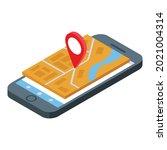 phone gps map icon isometric...