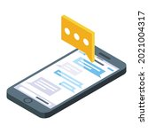 phone sms icon isometric vector....