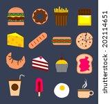dessert flat icons on dark... | Shutterstock .eps vector #202114651
