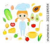 set girl  avocado  champignon ... | Shutterstock .eps vector #2021189054