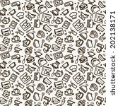 seamless texture with icons  ... | Shutterstock .eps vector #202138171