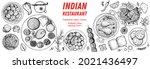 indian food illustration. hand... | Shutterstock .eps vector #2021436497
