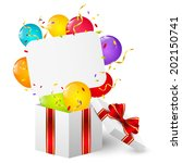 birthday gift box with paper... | Shutterstock .eps vector #202150741