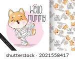 cute mummy little puppy happy... | Shutterstock .eps vector #2021558417
