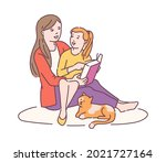 mother and daughter sitting on... | Shutterstock .eps vector #2021727164