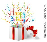birthday gift box with color... | Shutterstock .eps vector #202172971