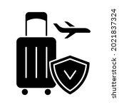 travel insurance black glyph... | Shutterstock .eps vector #2021837324