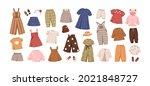 modern kids clothes set. summer ... | Shutterstock .eps vector #2021848727