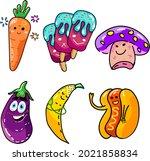 various humorous phallic foods... | Shutterstock .eps vector #2021858834