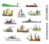 set with boats of different... | Shutterstock .eps vector #202188811