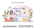 tourism expert concept. online... | Shutterstock .eps vector #2021902871