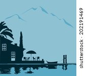 alpes,bistrô,cipreste,gastronomia,gráfica,férias,à beira do lago,à beira do lago,maior,médio,ícone,paisagem,pára-sol