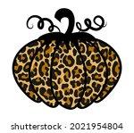 leopard pumpkin   hand drawn... | Shutterstock .eps vector #2021954804
