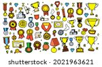 vector set of medals and orders ... | Shutterstock .eps vector #2021963621