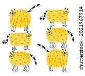 funny doodle cats. cartoon cute ...   Shutterstock .eps vector #2021967914