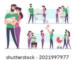 happy family. lovely couple... | Shutterstock .eps vector #2021997977