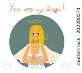 you are my angel girl cartoon... | Shutterstock .eps vector #202200271