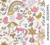 cute doodle pattern with fox ... | Shutterstock .eps vector #202203991