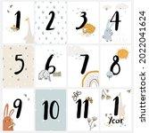 baby milestone cards for baby's ... | Shutterstock .eps vector #2022041624