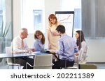 business people sitting at... | Shutterstock . vector #202211389