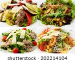 collage hot salads their veal ... | Shutterstock . vector #202214104
