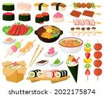 cartoon oriental asian cuisine... | Shutterstock .eps vector #2022175874