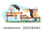 equestrian person grooming... | Shutterstock .eps vector #2022181061