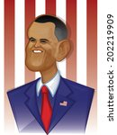 Caricature Cartoon Illustration of US President Barack Obama/Barack Obama/Barack Obama humorous vector illustration created: 6/26/2014