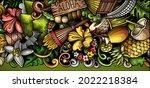 hawaii hand drawn doodle banner.... | Shutterstock .eps vector #2022218384