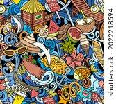 cartoon doodles summer beach... | Shutterstock .eps vector #2022218594