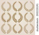 set of vector golden laurel... | Shutterstock .eps vector #202223191