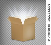 open cardboard box with a glow...   Shutterstock .eps vector #2022352301