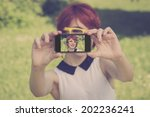 cute hipster teenage girl... | Shutterstock . vector #202236241