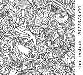 cartoon doodles summer beach... | Shutterstock .eps vector #2022373544