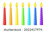 rainbow colored twisted candles ... | Shutterstock .eps vector #2022417974