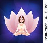 meditating girl in lotus pose....   Shutterstock .eps vector #2022418154