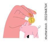 hand put golden coin or money...