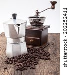 isolated coffee bean grinder... | Shutterstock . vector #202252411