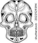 vector coloring human skull. ...   Shutterstock .eps vector #2022529394