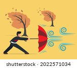 businessman holding umbrella in ...   Shutterstock .eps vector #2022571034