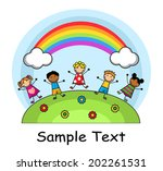 cartoon kids jumping on meadow... | Shutterstock . vector #202261531