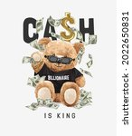 cash is king slogan with bear... | Shutterstock .eps vector #2022650831
