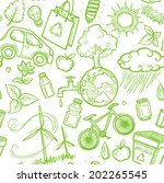 doodles eco icon seamless | Shutterstock .eps vector #202265545