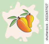 vintage illustration with mango ... | Shutterstock .eps vector #2022657527