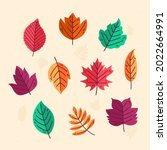 autumn leaves collection....   Shutterstock .eps vector #2022664991