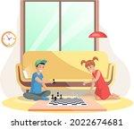 children playing board game...   Shutterstock .eps vector #2022674681