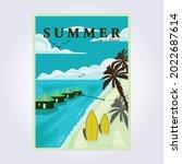 summer surfing beach vintage... | Shutterstock .eps vector #2022687614